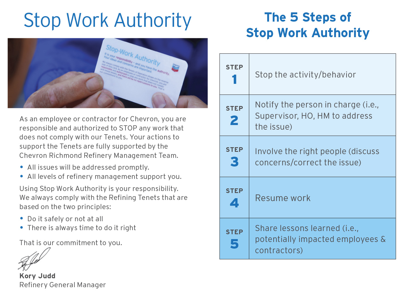 """The Power of """"Stop Work Authority""""   Richmond Standard"""