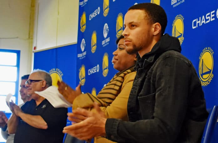 Steph Curry helps Warriors unveil renovated Richmond basketball courts