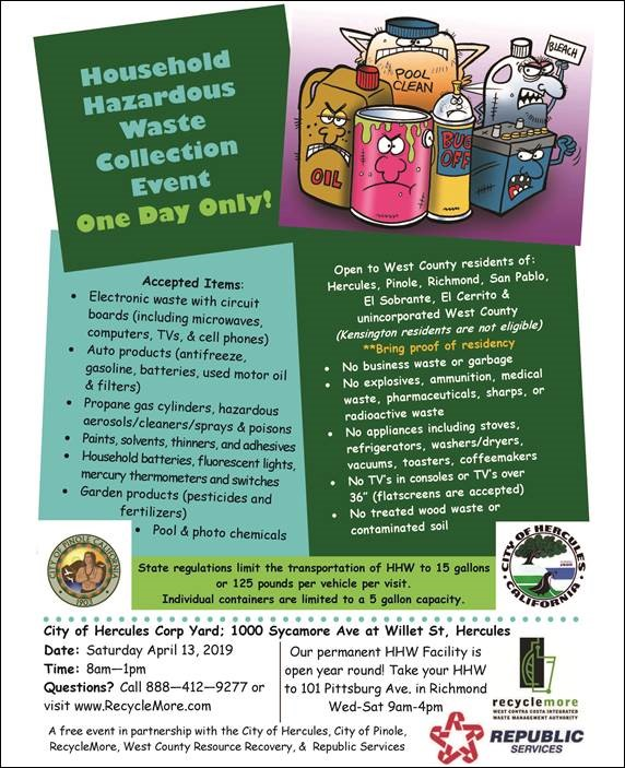 Residents can dispose of hazardous waste for free this Saturday