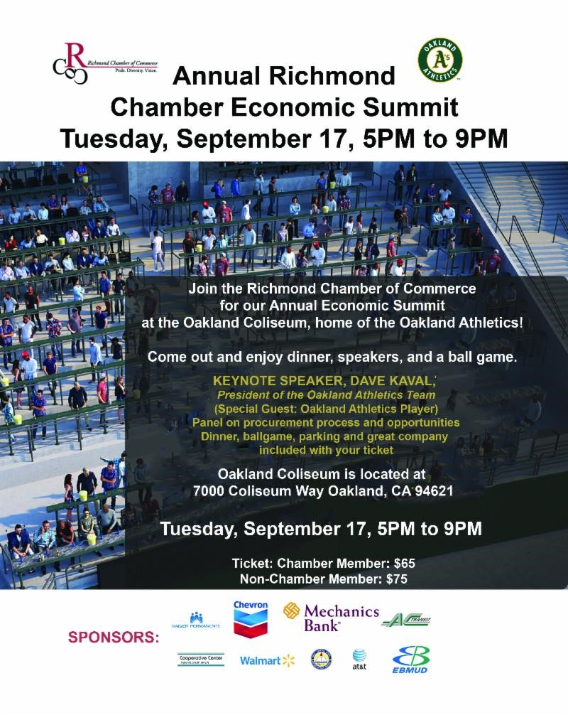 Richmond Chamber's economic summit heads to Oakland Coliseum
