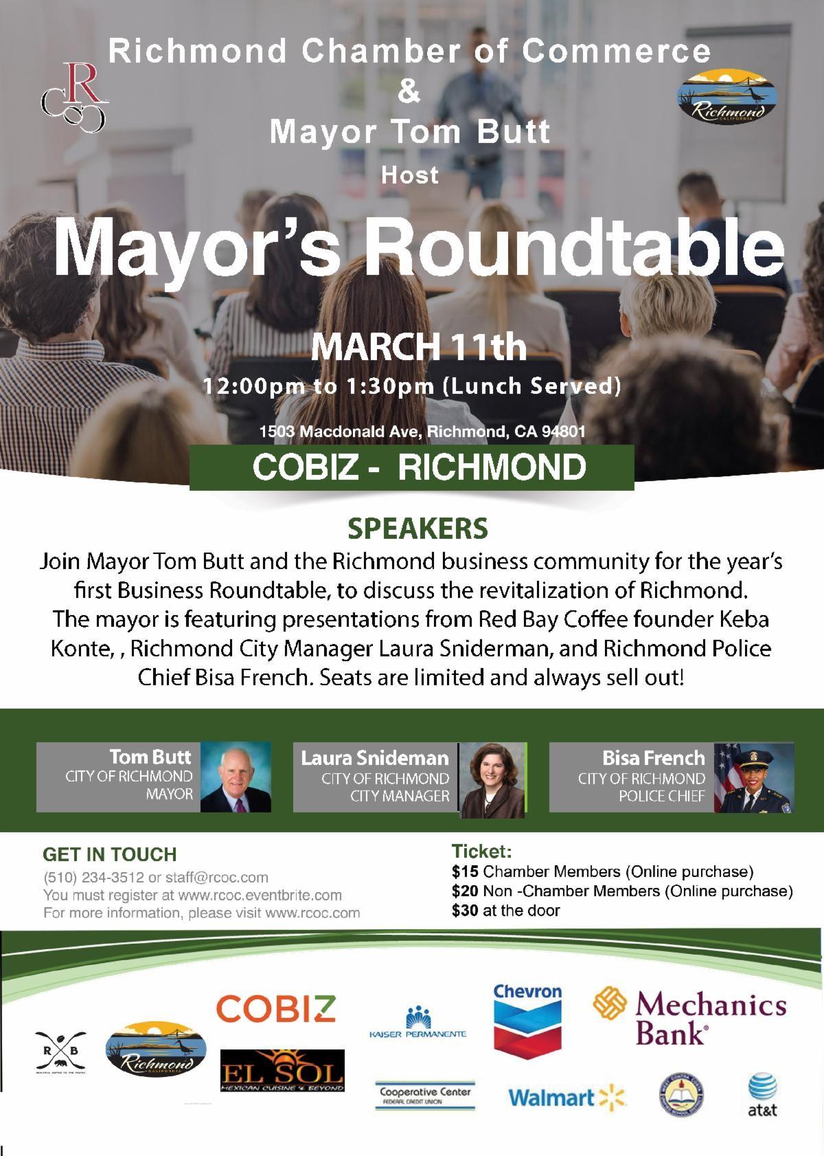Postponed Richmond Mayor S Business Roundtable Richmond Standard