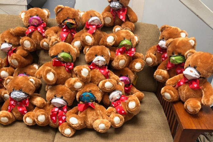 GRIP gifted teddy bears and masks for homeless children