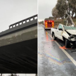 Driver found conscious after crashing through overpass barrier, landing on freeway