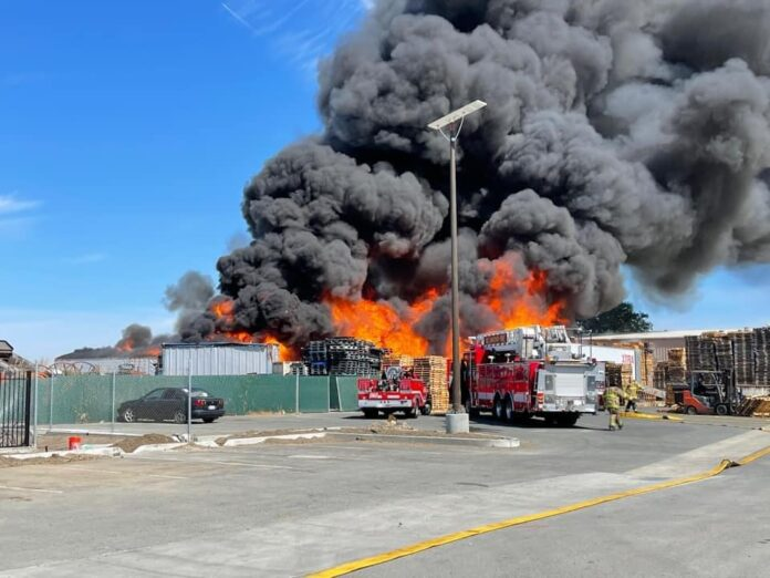 Pallet yard fire in North Richmond prompts two alarms